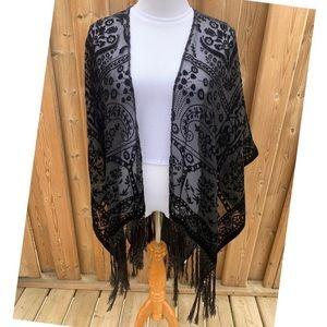 Echo   Velvet Lace Embroidered Kimono